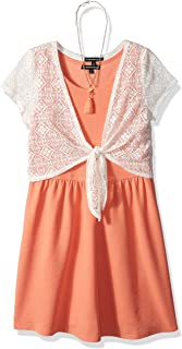 Girls' Big Skater Dress with Crochet Tie Front Sweater