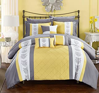 Chic Home 10 Clayton Pintuck Pieced Color Block Embroidery King Bed in a Bag Comforter Yellow with Sheet Set