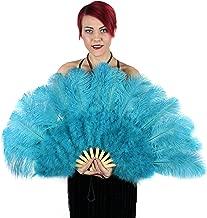 Large Ostrich Feather Hand Fan - Blue Flapper Folding Fan Dance Wedding Accessory
