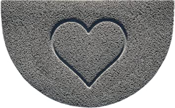 Nicoman Embossed Halfmoon Half Circle Door Mat Dirt-Trapper Jet-Washable Doormat 70x44cm (Grey, Heart Shape) - Use Indoor ...