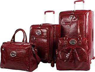 Croco PVC Designer Luggage - 4 Piece Softside Expandable Lightweight Spinner Suitcases - Travel Set includes a Dowel and Shopper Bags, 20-Inch Carry On & 28-Inch Suitcase (Burgundy)