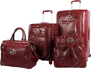 Kathy Van Zeeland Croco PVC Luggage Set 4 Piece Expandable Suitcase with Spinner Wheels (One Size, Burgendy)