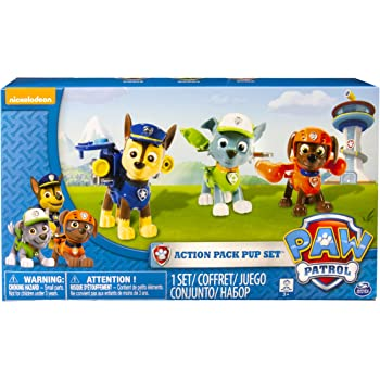 Paw Patrol Action Pack Pups 3pk Figure Set Chase, Rocky, Zuma,Multicolor