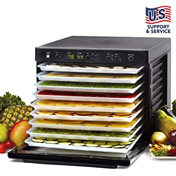 Tribest Sedona SD-P9000 Digitally Controlled Food Dehydrator With BPA-Free Trays, Black,Large