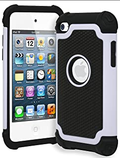 Bastex iPod Touch 4 Case, Hybrid Slim Fit Black Rubber Silicone Cover Hard Plastic White & Black Shock Case for Apple iPod Touch 4, 4th Generation