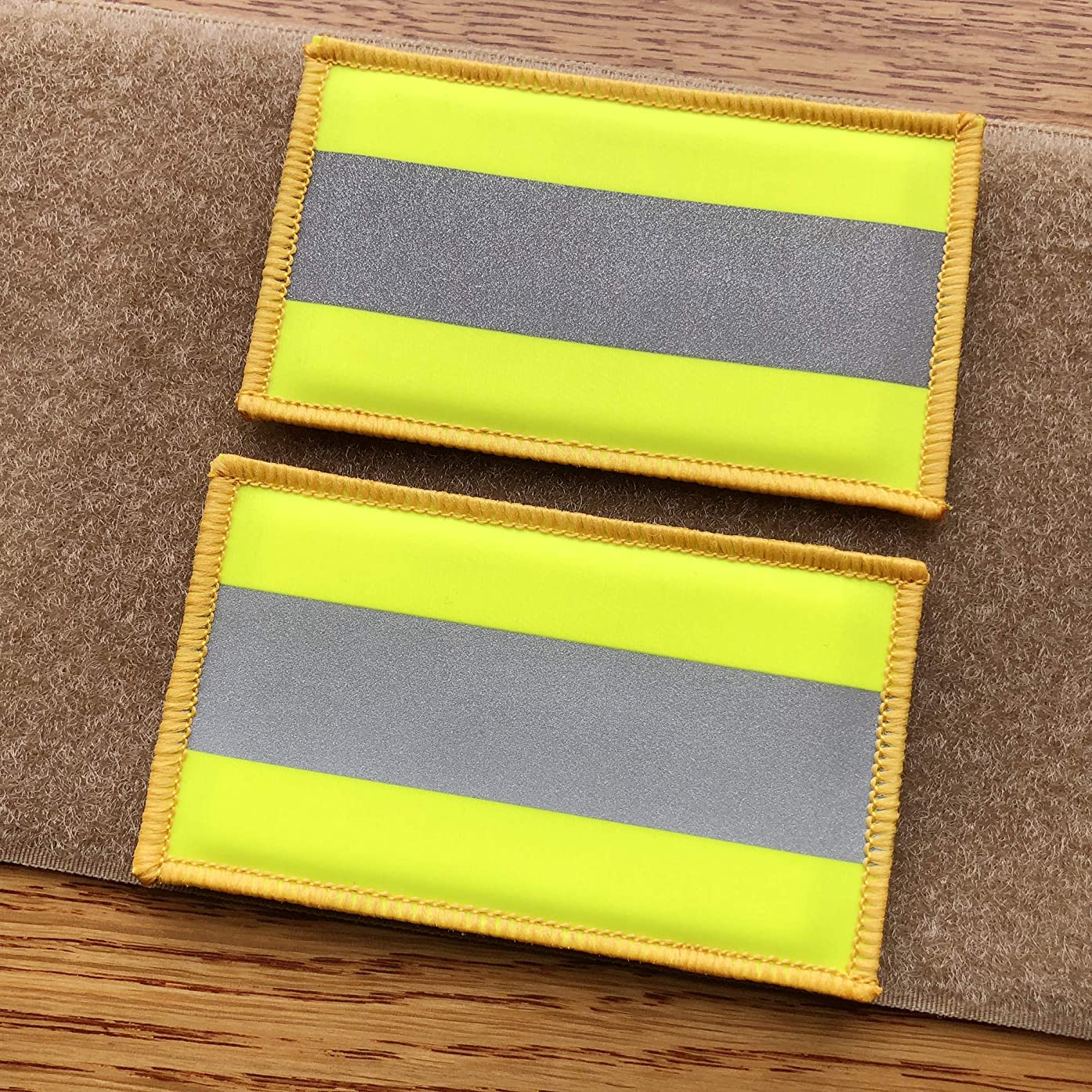 2 Pack Reflective Morale Fastener Safety Patch Hook Loop Firefighter Rescue Police EMT EMS Hi Vis Patch (Fluor Yellow)