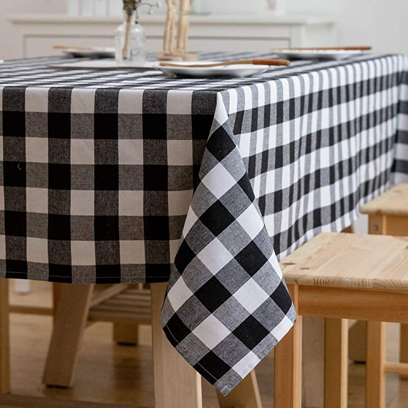 Aquazolax Buffalo Checkered Rectangle Tablecloth White And Black Textured Weights Fabric 6ft Long Table Cover 54 X 72 Black