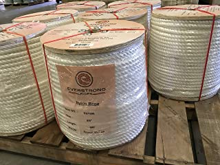EVERSTRONG 100% Nylon Twisted Rope in 600 Ft Spool x Various Sizes(3/16 inch - 1-1/2 inch), White Multipurpose Line.