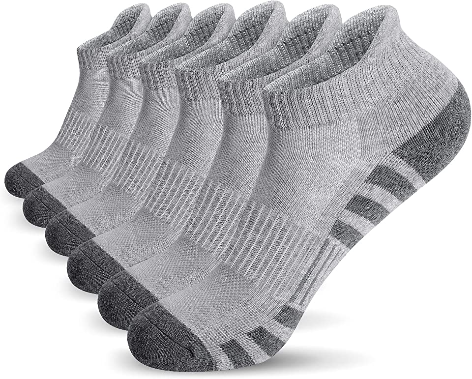 Ankle Athletic Running Socks Cushioned Breathable Low Cut Sports Tab Socks for Men and Women (6 Pairs)