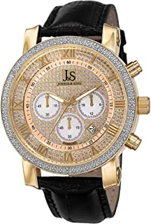 Joshua and Sons Men's Dazzling Diamond Chronograph Watch - Crystal Face Featuring Pearlescent Subdials with Genuine Diamonds On Bezel on Alligator Embossed Leather- JS-28