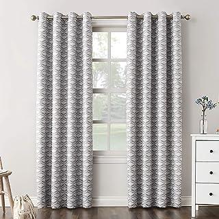 "Sun Zero Raleigh Geometric 100% Blackout Grommet Curtain Panel, 52"" x 95"", Gray"