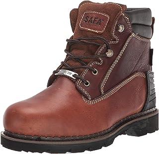 أحذية عمل رجالي من الصلب مقاس 15.24 سم، زيت جلد محبب بالكامل، حذاء بناء مقاوم للانزلاق + حمض، مع نعل Goodyear بكعب