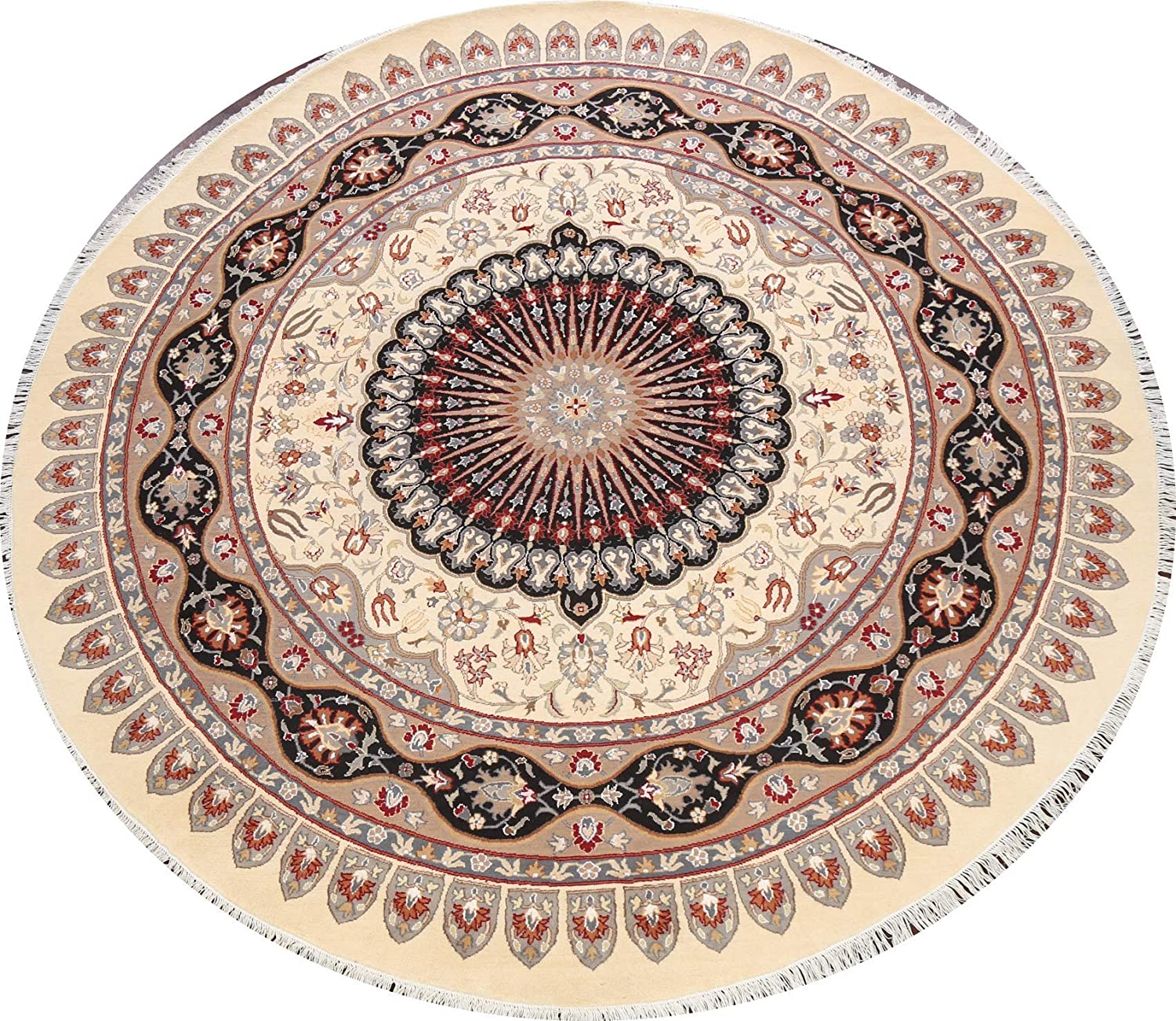 100% Vegetable Dye Many popular At the price brands Round Floral Rug Oriental Area Wool Isfahaan