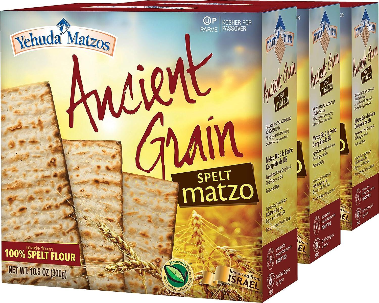 Yehuda Organic Ancient Grain 100% Spelt Matzo 10.5oz (3 Pack)