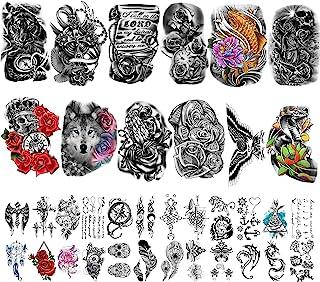 36 Vellen Tijdelijke Tattoos Stickers Inclusief 12 Vellen Grote Stickers, Nep Body Arm Borst Schouder Tatoeages voor Manne...