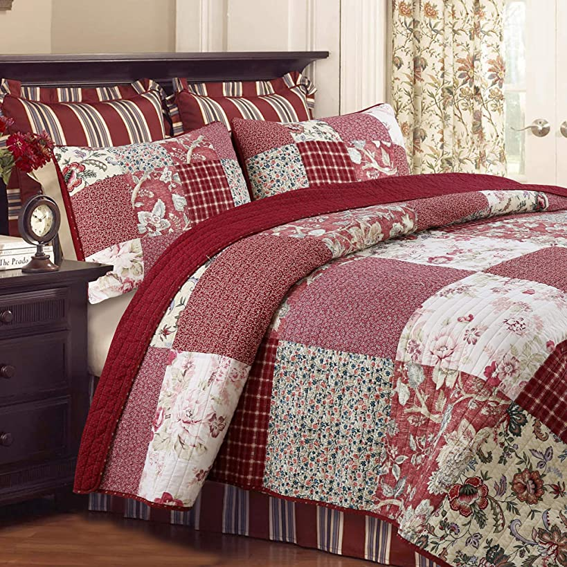 Cozy Line Home Fashions Delilah Quilt Set, Red Rose Real Patchwork 100% Cotton Reversible Coverlet Bedspread, Wedding Anniversary Romantic Home Decor for Bedding Bedroom (Red Floral, King - 3 Piece)