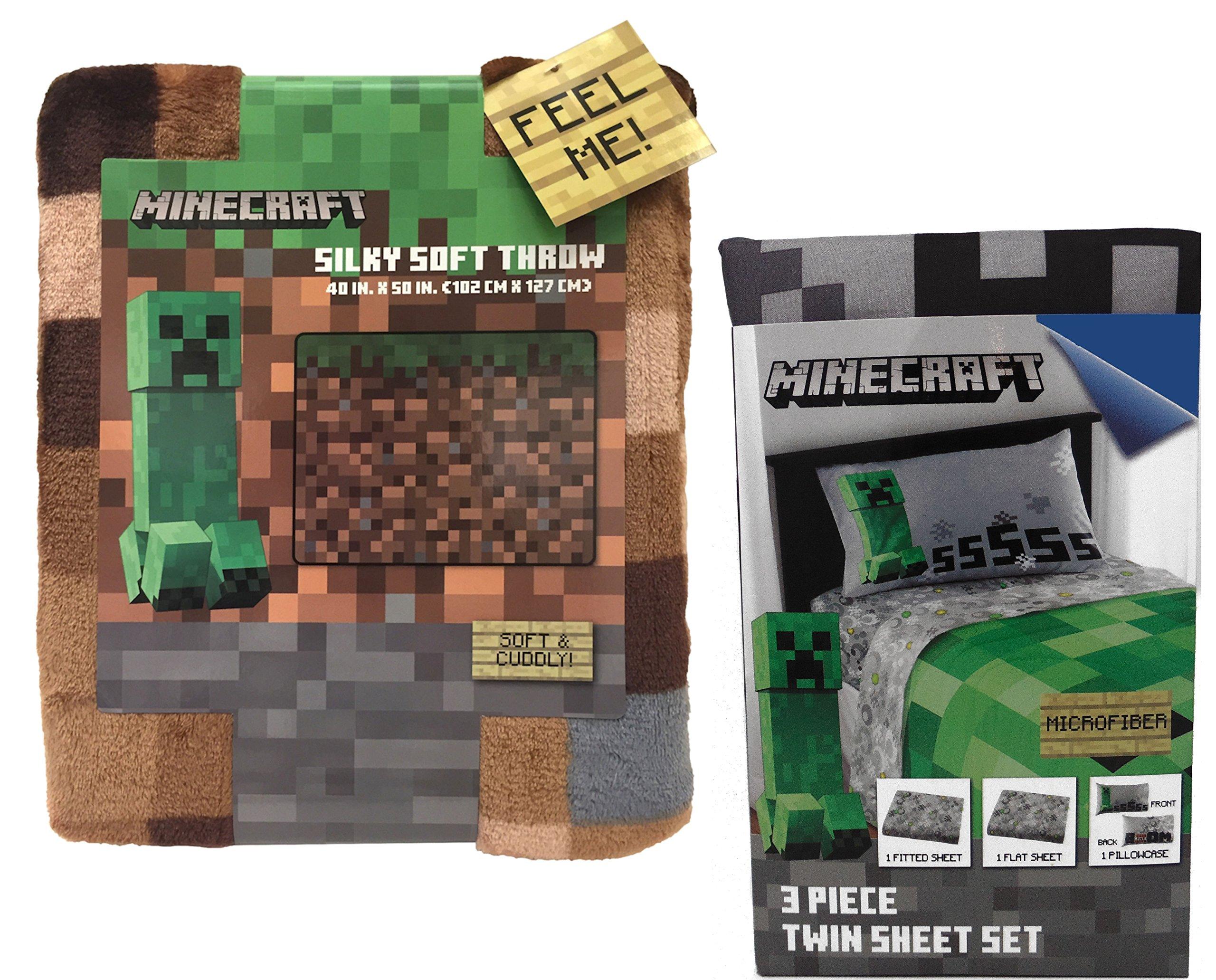Minecraft Creeper Throw Blanket and Twin Sheet Set Bundle