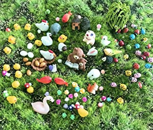 JKanruh 101 Pieces Miniature Animals,Fairy Garden Accessories,Miniature Ornament Kits Set for DIY,Fairy Garden Dollhouse,DIY Terrarium,Flower Pots Ornaments,Craft Decor