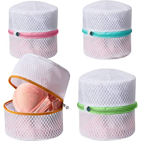 MARMINS Bra Bag,4 Pcs Thickened Sandwich Fabric Lingerie Bags for Laundry Bra Bag for Washing Machine,Underwear Washing Bag 7 x 7X 7 Inches