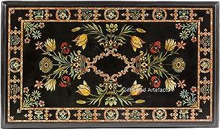 Gifts And Artefacts Table de salle à manger rectangulaire en marqueterie incrustée Noir 36 x 72 cm