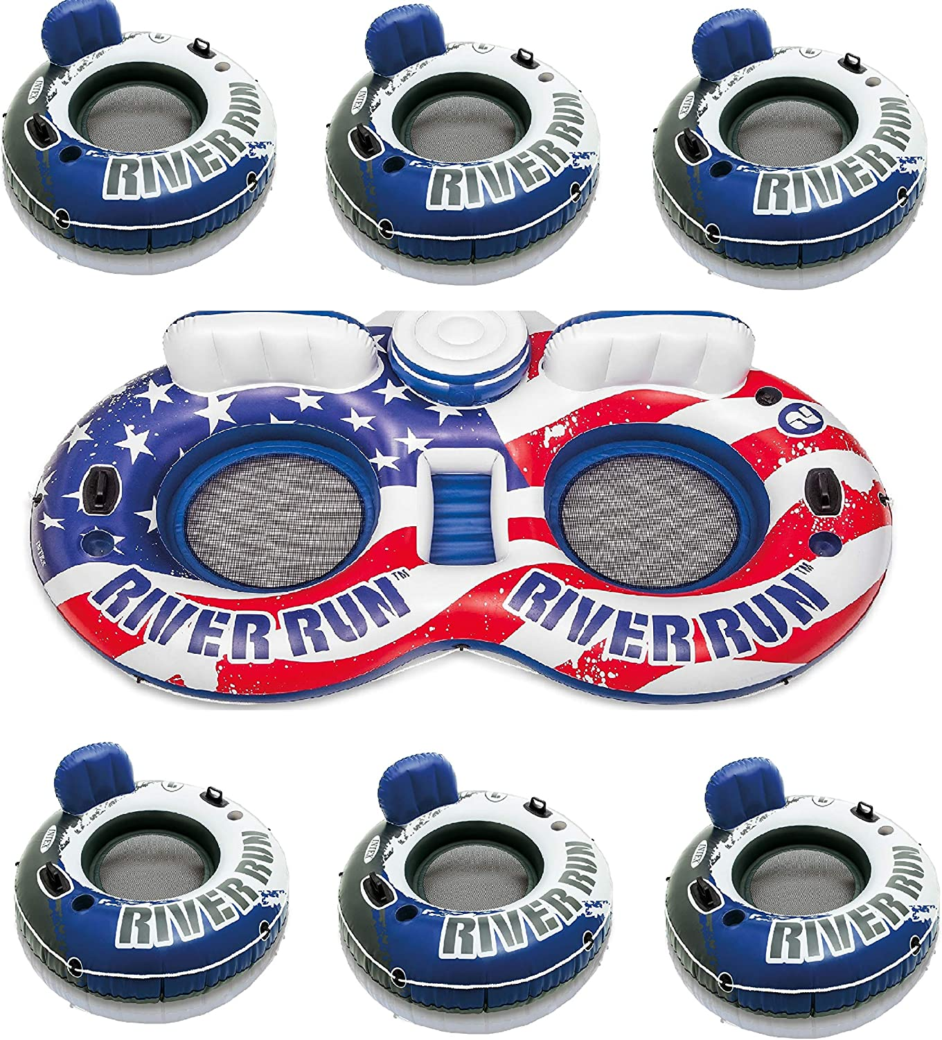 Spring new work Intex American Flag 2 Person Float 1 River 6 Max 89% OFF w Run Tube