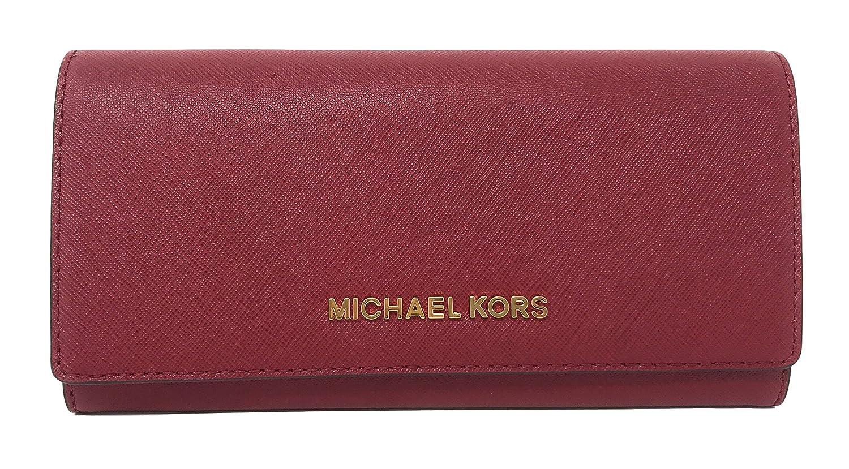 Michael Kors ジェットセット トラベルサフィアーノレザーキャリーオール財布 チェリー