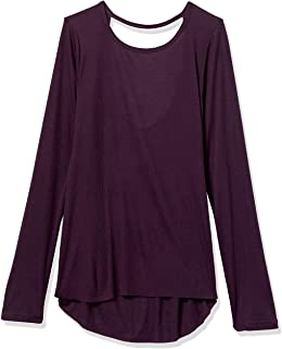 Core 10 Camiseta de Yoga de Manga Larga de Punto Semitransparente con Espalda Abierta Camisa para Mujer