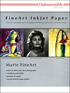 """Hahnemuhle Matte Museum Etching, 100% Rag, Natural White Watercolor Inkjet Paper, 22.0 mil., 350 g/mA, 13x19"""", 25 Sheets"""