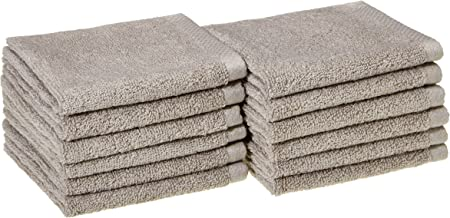 AmazonBasics Quick-Dry Face Towel - 100% Cotton - 400 GSM - Pack of 12, Platinum