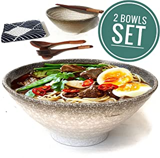 2 Set (12 Pieces) Ceramic Ramen Bowl Set, Pho Bowls Asian Japanese With Spoons Chopsticks and Stands, Large 32 Ounces for Noodles, Noodle, Udon, Thai Dinnerware for Any Soup Meal
