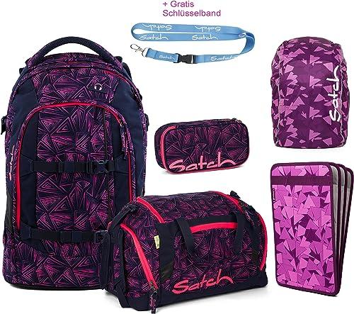 Unbekannt Satch Schulrucksack 5er Set inkl. Sporttasche, Schlamperbox, Heftebox, Regencape Purple und Gratis Schlüsselband - Rosa Bermuda