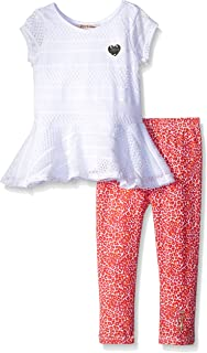 Girls' White Top with Printed Stretch Jersey Pants