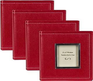 DesignOvation Sleek Faux Leather Red Photo Album, Holds 100 4x6 Photos, Set of 4