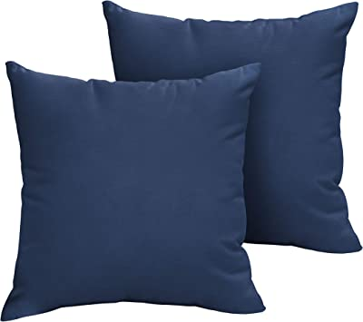 Amazon Com 1101design Sunbrella Canvas Navy Knife Edge Decorative Indoor Outdoor Square Throw Pillows Perfect For Patio Décor Canvas Navy Blue 20 Set Of 2 Garden Outdoor