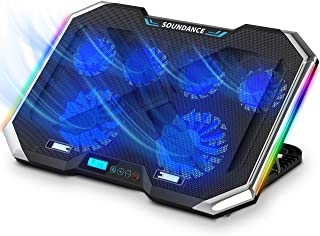 SOUNDANCE Laptop Cooling Pad with 6 Quiet Fans, Laptop Cooler Adjustable Height Prevent Overheating, with RGB Lights, Dual...