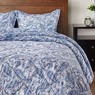 downluxe Down Alternative Twin Comforter Set - Reversible Paisley Design Comforter with 1 Pillow Sham, Blue Yonder