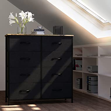 Folconroad Chest of Drawers with 8 Drawers,Steel Frame Storage Tower , Wide Chest Fabric Drawers For Clothes, Storage Drawer