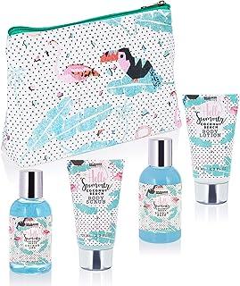 BRUBAKER Set de Baño y Ducha Coco playa - 5 piezas - Set de regalo de belleza con neceser
