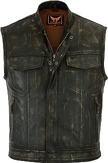 A&H Apparel Mens Genuine Cowhide Distressed Gun pocket Motorcycle Vest Classic Biker Vest (Large)
