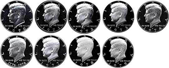 1970-1979 S Kennedy Half Dollars Gem Proof Run 9 Coins US Mint Decade Lot Complete 1970's Set