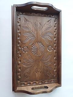 Nueva marrón pequeño madera hermosa de arce natural mano tallada bandeja, bandeja, plato decorativo, decoración casera, pl...