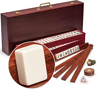 Yellow Mountain Imports American Mahjong Set, Classic Royalle II with Redwood Case - Four All-in-One Racks with Pushers, Wind Indicator, Dice, & Wright Patterson Counting Coins