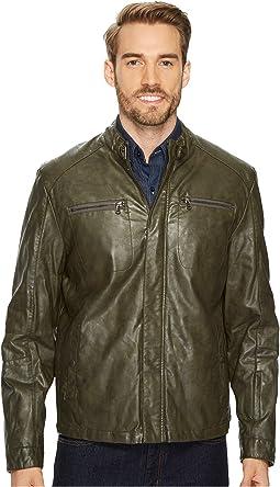 PU Jacket with Tab Collar Detail
