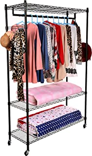 Homdox 3-Tiers Large Size Heavy Duty Wire Shelving Garment Rolling Rack Clothing Rack with Double Clothes Shelves and Lockable Wheels+1 Pair Side Hooks,Black