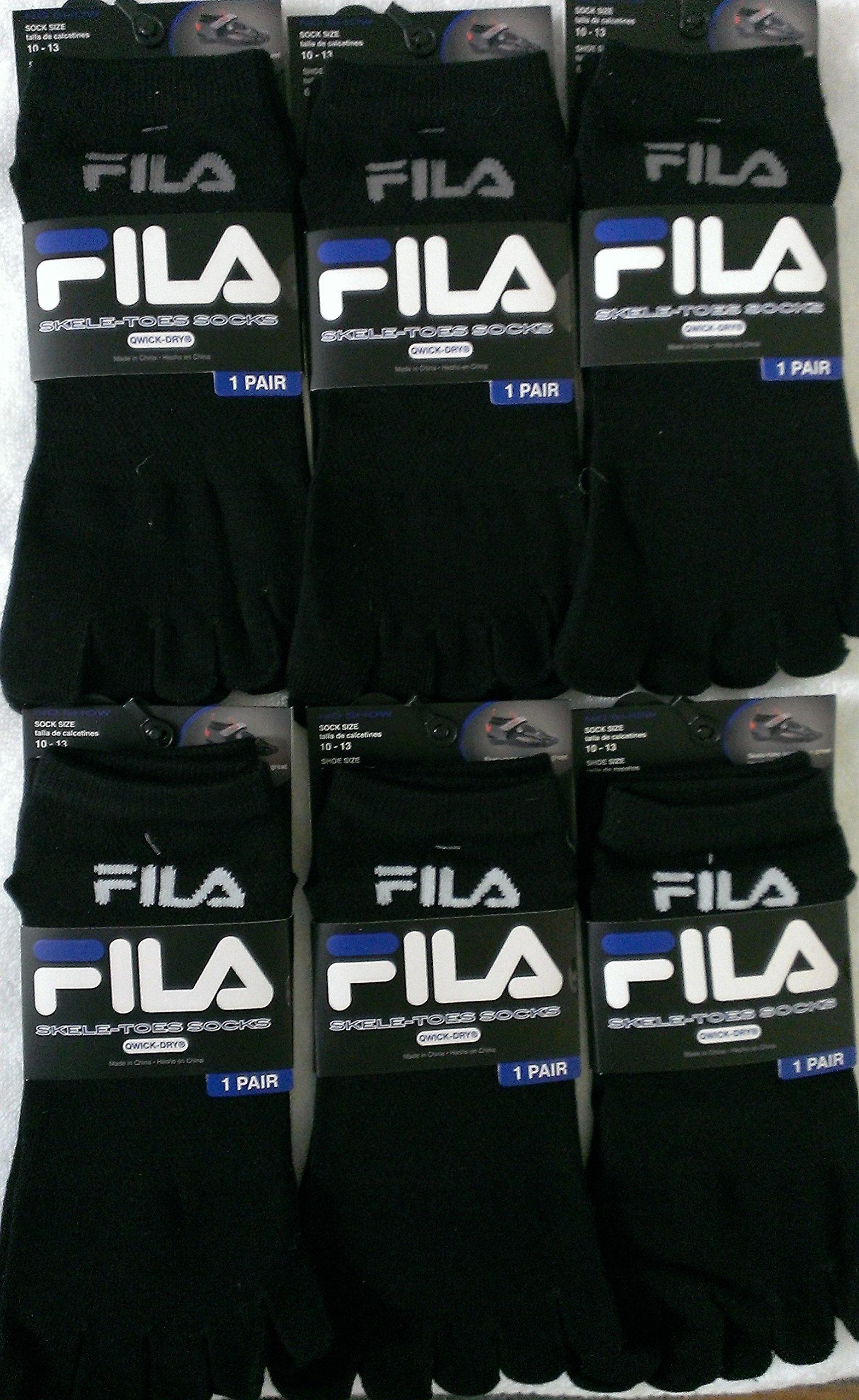 Fila Pack of 6 Pairs Skele-Toes-Socks -Men- Black 10-13 (Shoe Size 6-12.5)