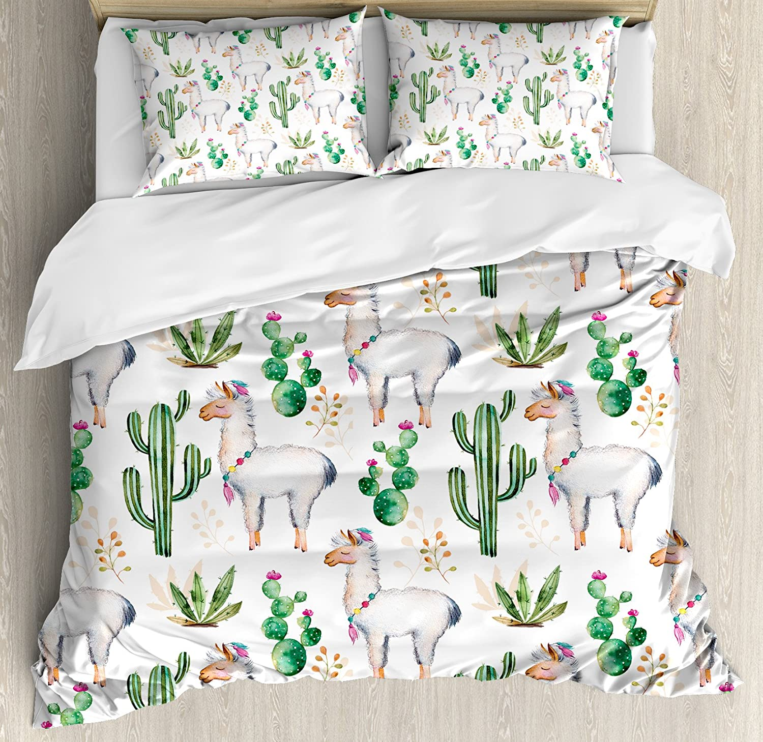 Ambesonne Cactus Duvet Cover Set King Size, Hot South Desert Plant Cactus Pattern with Camel Animal Modern colord Theme Image Print, A Decorative 3 Piece Bedding Set with 2 Pillow Shams, Multicolor