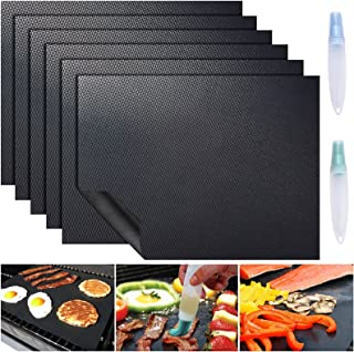 ACMETOP 6 Pack Large Grill Mat, Non Stick BBQ Grill Mat, Reusable Grill Mats with Two Oil Brushes, Easy to Clean Barbecue ...