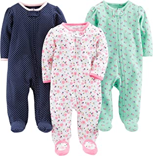 Baby Girls' 3-Pack Cotton Footed Sleep and Play