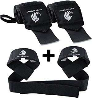 Fitgriff® Wrist Wraps + Lifting Straps (Bundle) - Wrist Straps for Weightlifting, Gym, Crossfit, Strength Training, Fitnes...