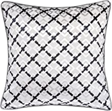 Homey Cozy Jacquard Throw Pillow Cover,Lattice Tapestry Black Silver Velvet Large Sofa Couch Pillow Sham,20x20 Cover Only